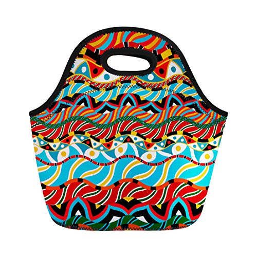 Semtomn Neoprene Lunch Tote Bag Pattern Based African Ornaments Africa Afro Coconut Baobab South Reusable Cooler Bags Insulated Thermal Picnic Handbag for Travel,School,Outdoors, Work