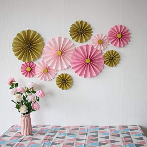 Mybbshower Pink Gold Paper Flowers Wall Home Decor Girls Import It All