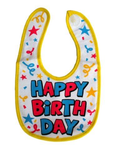 Baby Bib Soft Cotton Happy Birthday - White]()