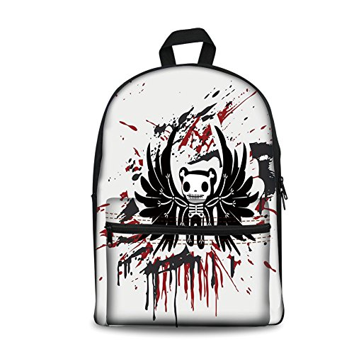 Design the fashion fo Kids Back to School Backpack, Canvas Book Bag,Halloween,Teddy Bones with Skull Face and Wings Dead Humor Funny Comic Terror Design,Pearl Black Ruby.