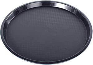 1pcs 14-inch Round Waitress/Waiter Tray Serving Tray Beverage Tray Food Tray Dinner Tray Cafeteria Tray Waitress-Style One-Handed Carry Fast Food Service Tray with Non Skid Surface