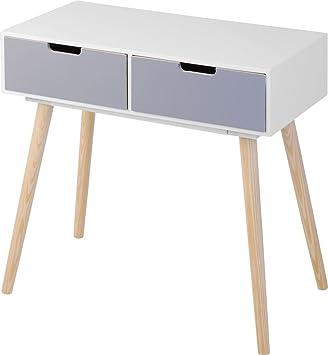 Moderne Holz Kommode Im 70er Jahre Retro Design   2 Schubladen    Beistelltisch Konsolentisch Sideboard