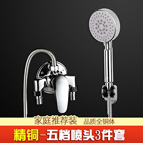Full Copper Clear Faucet Five Gear 3 Pieces JWLT Solar hybrid water mixing valve, water heater, shower faucet nozzle, switch hose, water pipe, hot and cold water faucet,Alloy section with 3 pieces of faucet and five gear