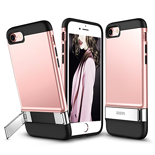 ESR iPhone 7 Case, iPhone 7 Metal Kickstand Case, [Vertical and Horizontal Stand] and [Magnetic Car-Mount Function] Hard PC Back + Flexible Bumper Protective Cover for 4.7 inches iPhone 7 (Rose Gold)