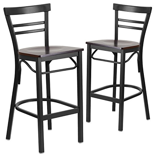 Flash Furniture 2 Pk. HERCULES Series Black Ladder Back Metal Restaurant Barstool - Walnut Wood Seat ()
