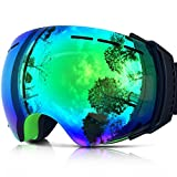 IceHacker Colorful Lens Lagopus Professional Snowmobile Snowboard Skate Ski Goggles with Detachable Lens and Wide Angle Double Lens Anti-fog Big Spherical Unisex Adult Snow3500 (Green)