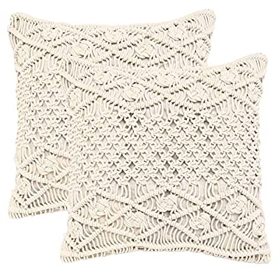 "REDEARTH Macrame Throw Pillow Cushion Covers-Woven Decorative Farmhouse Square Cases Set for Couch, Sofa, Bed, Farmhouse, Chair, Dining, Patio, Outdoor, car; 100% Cotton (18x18; Natural) Pack of 2 - 100% Cotton; 18 x 18 Inch / 45 x 45cm (1-1.5 cm deviation) Set of 2 decorative cushion covers. They fit perfectly on 18""x18"" pillow inserts/fillers. For a fuller and plump look, 20x""20"" filler can be used. PILLOW INSERTS ARE NOT INCLUDED. The bohemian throw pillow cases are made up of hand knotted macrame in the front and cotton canvas at the back. These cushion covers can add a touch of elegance to any kind of décor and living space. Hidden zipper used for seamless look and durability; the product is tested for shrinkage, color fastness and seam slippage - patio, outdoor-throw-pillows, outdoor-decor - 51UelNsK dL. SS400  -"