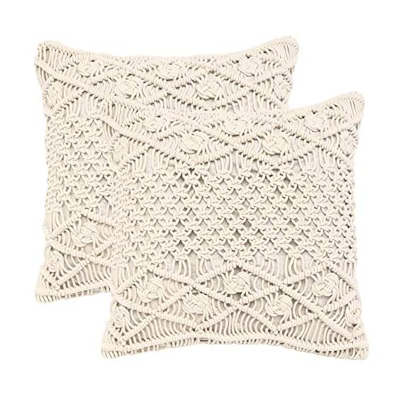 """REDEARTH Macrame Throw Pillow Cushion Covers-Woven Decorative Farmhouse Square Cases Set for Couch, Sofa, Bed, Farmhouse, Chair, Dining, Patio, Outdoor, car; 100% Cotton (18x18; Natural) Pack of 2 - 100% Cotton; 18 x 18 Inch / 45 x 45cm (1-1.5 cm deviation) Set of 2 decorative cushion covers. They fit perfectly on 18""""x18"""" pillow inserts/fillers. For a fuller and plump look, 20x""""20"""" filler can be used. PILLOW INSERTS ARE NOT INCLUDED. The bohemian throw pillow cases are made up of hand knotted macrame in the front and cotton canvas at the back. These cushion covers can add a touch of elegance to any kind of décor and living space. Hidden zipper used for seamless look and durability; the product is tested for shrinkage, color fastness and seam slippage - patio, outdoor-throw-pillows, outdoor-decor - 51UelNsK dL. SS570  -"""