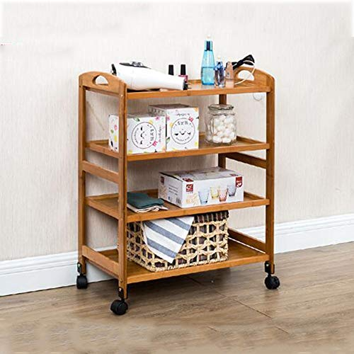 Shelves MEIDUO Bamboo Bathroom Shelf Standing Rack with 3Tier /4 Tier as Kitchen Shelf or Wooden Rack for Storage in The Bathroom (Color : Wood, Size : 4 Tier)