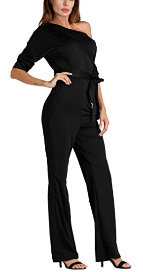 b789cacaa28c Women s Sexy Casual One Shoulder Wide Leg Long Pants with Belt Jumpsuit  Romper Black