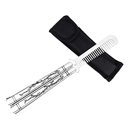 Ibetter Practice Butterfly Knife Comb Stainless Steel Balisong Trainer Comb Unsharpened Blade With Spring Latch Smooth Action Butterfly Knife