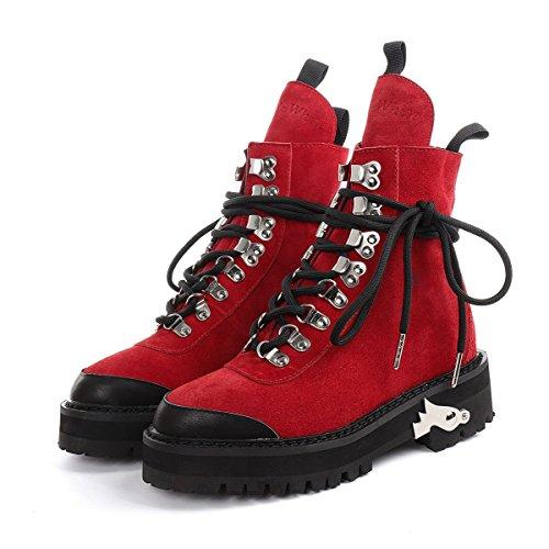 Otoño E Invierno Nuevos Botas Moda Coreana Zapatos Casuales Zapatos De Alto Cómodo Scrub De Cuero Red
