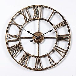 Aero Snail Vintage Retro 20-inch Dia Large Iron Metal Indoor Wall Clock with Roman Numerals ¡