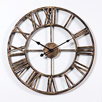 Aero Snail Vintage Retro 20 Inch Dia Large Iron Metal Indoor Wall Clock  With Roman Numerals ¡