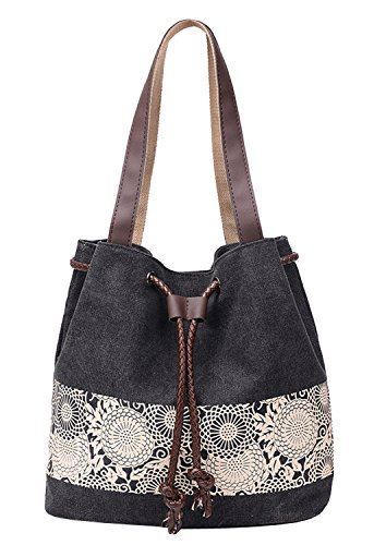 Canvas Bag 3 9x15 Black Bag Grey Shoulder Print Shopper Tote Women 1x5 Shopping Hobo Beach Handbag Bag Bag 14 wXpqxTH