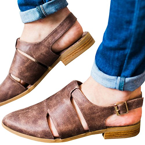 Heel Chunky Buckle Daomumen Toe Leather Ankle Y Boots Booties Low Pointed brown Womens B0wwYUq1