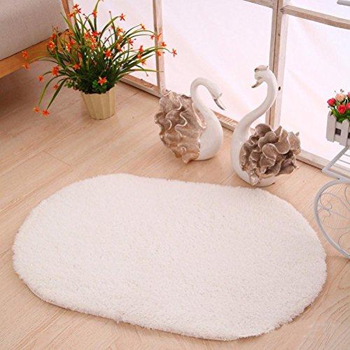 40cm x 60cm Anti-Slip Soft Floor Rug Carpet Bathroom Bedroom Bath Shower Mat (White) - 6