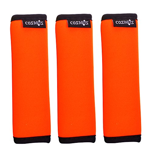 Wrap Luggage Tag (Cosmos ® 3 PCS Comfort Neoprene Handle Wraps/Grip/Identifier for Travel Bag Luggage Suitcase (Fluorescent orange))