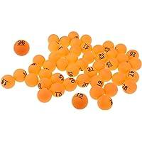FLAMEER Paquete DE 50 Bolas De Ping Pong Material PP 40mm Pelota De Tenis De Mesa De Entrenamiento Lucky Dip Gaming Lotería Lavable Number.1-50