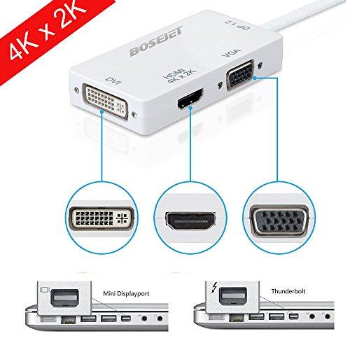 Bosejet [DP 1.2 Version] Super 4K*2K Primium Mini Displayport DP Thunderbolt Male to DVI VGA HDMI Female TV AV Video HDTV Adapter Cable 3 In1 for Mac, Macbook, Macbook Pro, Macbook Air, iMac, Surface Pro 1 2 3, Lenovo Thinkpad X1 Carbon, X230/240s - White