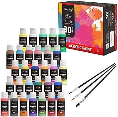 Magicfly 30 Couleurs Peinture Acryliques 60 Ml 2 Fl Oz Non Toxiques Avec 3 Pinceaux Pour Peintures Multi Surfaces Sur Tissu Papier Cuir Bois