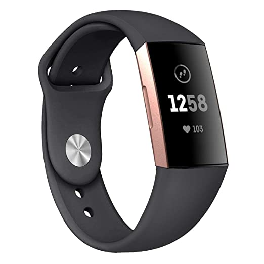 Bonstrap Band Compatible with Fitbit Charge 3 Replacement Silicone Fitbit  Charge 3 Band Strap for Men Women