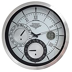 Torinnov 12-inch Aluminium Radio controlled Analog Wall Clock with Date/Day of Week