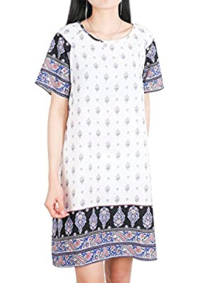 DSUK Womens Bohemian Tunic Dress Crew Neck Short Sleeve Floral Printed Loose Tops