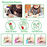 Pencil Grips, Wiisdatek Ergonomic Training Children Pencil Holder Pen Writing Aid Grip Posture Correction Tool for Kids Children Toddlers Adults for Lefties or Righties