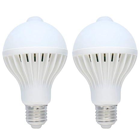 2 unidades 9 W E27 Bombilla LED con sensor de movimiento, PERA, color blanco