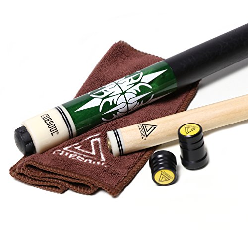 Black scorpion CUESOUL 2-Piece 57 Inch Pool Cue Stick 19-21oz Billiard cue with 13mm Cue Tips with Cleaning Towel & Joint Protector(C.QG.CSPC035) (CSPC035)