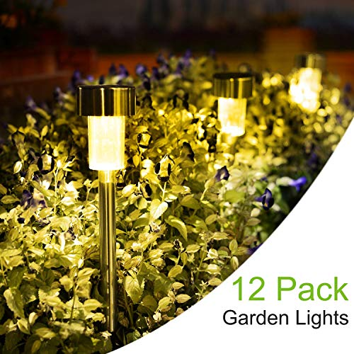 SUNNEST Solar Garden Lights Outdoor 12 Pack, LED Solar Powered Pathway Lights, Stainless Steel Landscape Lighting for Lawn, Patio, Yard, Walkway, Driveway Warm White (Pathway Solar Lights Garden)