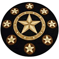 Champion Rugs Texas Star Western Black Area Rug #CR85 (7 Feet X 7 Feet Round)