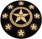 Cheap Champion Rugs Texas Star Western Black Area Rug Design #CR81 (5 Feet x 5 Feet Round)