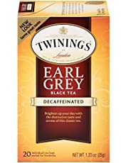 Twinings of London Decaffeinated Earl Grey Black Tea Bags, 20 Count (Pack of 6)