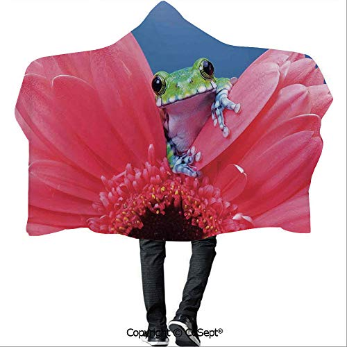 AmaUncle Wearable Hooded Blanket,Cute Tiny Little Tree Frog on Flower Magical Nature Moments Art Photo,Warm Cozy Throw Blanket (59.05x78.74 inch),Pink Green Blue