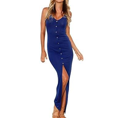DAYLIN Womens Casual Solid Sleeveless Buttons Summer Evening Party Dress (S, Blue)