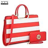 MMK Collection Fashion Pad-lock Satchel handbags with wallet?8808)~Designer Purse for Women ~Multi Pocket ~ Perfect Women Purse and wallet~ Beautiful Designer Handbag Set (MA-XL-02-2828-W-RD/WT)