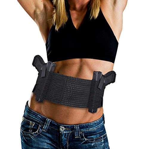 accmor Belly Band Holster for Concealed Carry, Elastic Breathable Waistband Gun Holster for Women Men, Right and Left Hand Draw