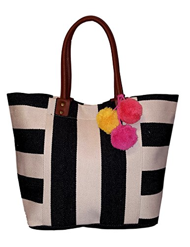 101 BEACH Canvas Wide Stripe Tote - Custom Embroidery Available (Black Stripe)