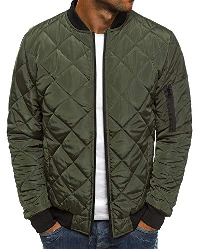 Pengfei Mens Jackets Bomber Varsity Diamond Quilted Fall Winter Coats Outwear Army Green
