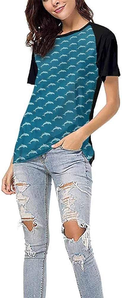 Baseball T-Shirt Summer,Dolphin,Ocean Mammal Silhouette S-XXL Woman Baseball Tops