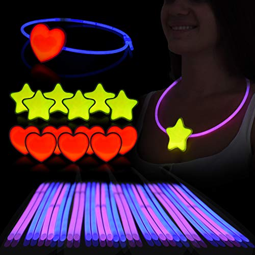Glow Sticks Necklace & Headring Set – Pack of 36 Sticks (18 Blue/18Pink), 6 Hearts & 6 Stars W/Connectors - Glow in the Dark Party Favors for Kids/Adults - Ideal -