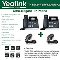 Yealink SIP-T41S IP Phone 2PACK 6-Lines + 2-UNITS Power Supply PS5V1200US 5 Volt