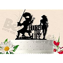 Pirate Couple Hooked for Life Captain Hook Wedding Cake Topper