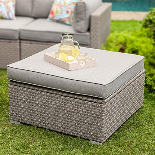 COSIEST Outdoor Furniture Add-on Ottoman for Expanding Wicker Sectional Sofa Set w Warm Gray Thick Cushion for Garden, Pool, Backyard
