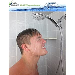 Vida Alegría H5+ 2.5GPM Handheld Shower Head with Steel Hose, Holder, 5 Sprays (Chrome)