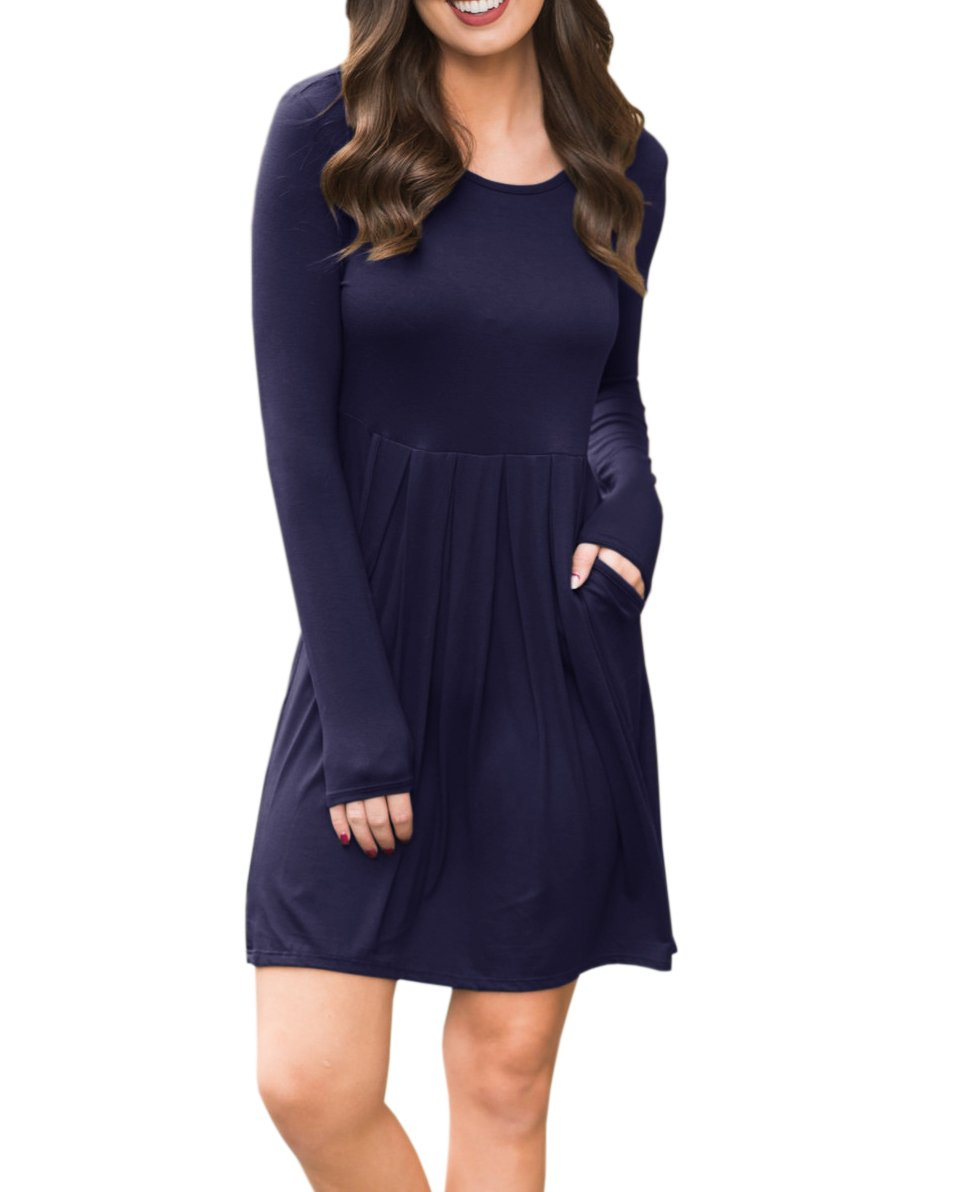 Womens A Line Flowy Long Sleeve Casual Loose Plain Round Neck Pockets Midi Dresses