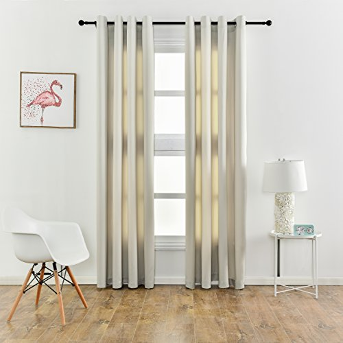KEQIAOSUOCAI Room Darkening Blackout Curtains Flame Retardant Insulated Window Drapes,1 Panel,Beige,60″ wide by 84″ length Review