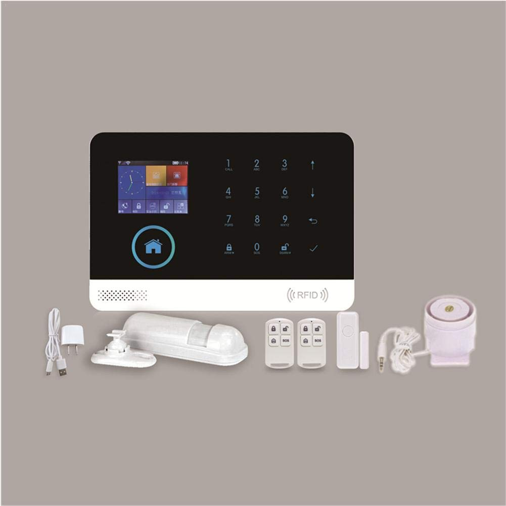 likeitwell Kit de Sistema de Alarma antirrobo, Wireless gsm y WiFi Alarma Smart Home Oficina intruso Seguridad con Detector de Movimiento PIR y ...